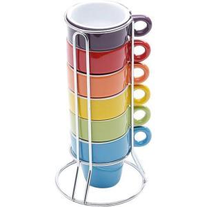 [AME] Jogo de Xícaras de Café 6 Peças com Suporte Coloridas - Bon Gourmet - R$40 (com AME, R$20)