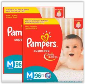 Fralda Pampers Supersec Jumbo Bag Tamanho M /XG a partir de R$ 52