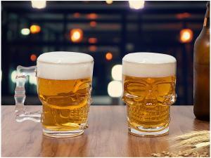 Conjunto de Caneca Vidro para Cerveja 510ml - 2 Peças Lyor Caveira Rock Style - R$ 28