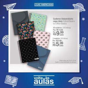 [Americanas - Loja Física] Caderno Universitário capa dura School Basics ou Office Basics - 10 matérias por R$10, 1 matéria por R$6