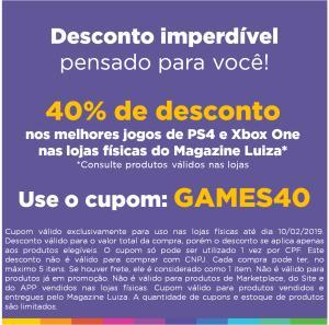 [LOJA FÍSICA] 40% de Desconto em Games na Magazine Luiza
