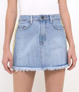 Saia Jeans com Faixa Lateral R$40