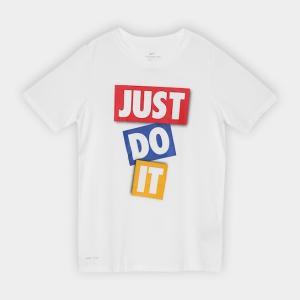 Camiseta Infantil Nike B Dry Dfc Jdi Tape Masculina - Branco e Vermelho R$40
