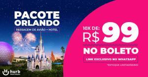 AÉREO p/ Orlando + Hotel 10 X R$99 NO BOLETO à partir das 14:00