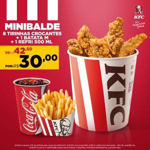 Mini balde 8 tirinhas + 1 batata M + refri 500ml no KFC - R$30