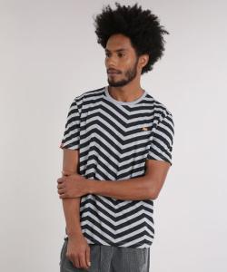 Camiseta masculina lab geométrica manga curta gola careca cinza mescla (Tamanho PP) - R$20