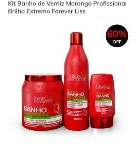 Kit Banho de Verniz Morango Profissional Brilho Extremo Forever Liss - R$59