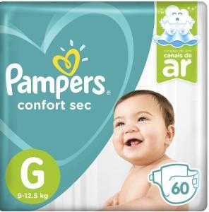 Fralda Pampers Confort Sec 60 Unidades, G - R$48