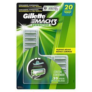 Carga Gillette Mach3 Sensitive, 20 unidades | R$114