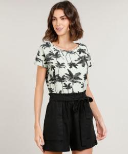Blusa feminina estampada de coqueiros | R$9