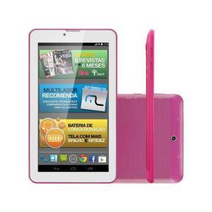 "Tablet M7i-3g Quad 8gb 7"" Gps Rosa Multilaser - Nb246 - R$207"