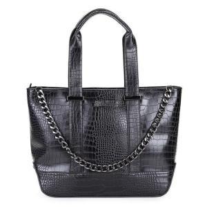 Bolsa Santa Lolla Shopper Croco Corrente Feminina - Preto  139,99