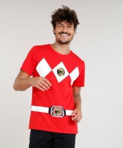 Camiseta masculina carnaval Power Ranger Vermelho 5ca6d9d6c2