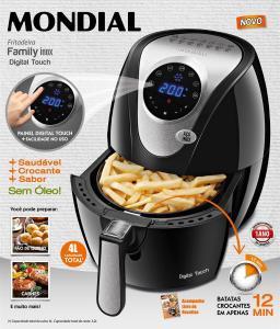 Fritadeira Sem Óleo Air Fryer Mondial AF-26 Family 3,2L Digital Touch – Preta e Inox - R$288