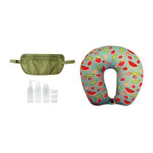 Kit Viagem: almofada de pescoço + doleira + 3 frascos para cosméticos R$50