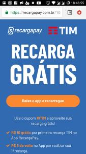 R$10 grátispra primeira recarga TIM no AppRecargaPay.