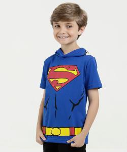 Camiseta Infantil Estampa Super Homem Capuz Liga da Justiça - R$24