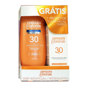 Kit Cenoura & Bronze Protetor Solar FPS 30 200ml + Protetor Facial Diário FPS 30 50g - R$19