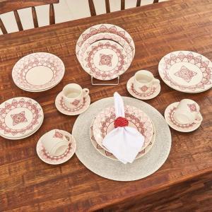 Jogo de Jantar Cerâmica 20 peças Donna Oxford Vermelho - R$100