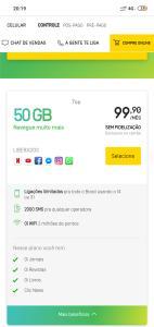 OI Mais Controle Top 50GB - R$99,90 (sem fidelidade)
