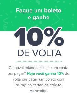 (Usuários Selecionados) 10% OFF no  PicPay para pagamento de boletos