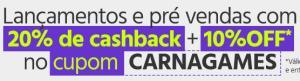 Cupom 10% off + 20% cashback AME, em Games PS4 / XBOX ONE