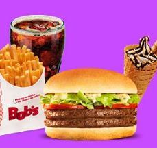 Bob's Burger Duplo + Batata M + Refil de Refri + Big Cascão do Bob's por R$18,00