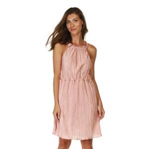 Vestido Plissado Com Alça Fina Com Detalhe Na Cintura Rose - R$30