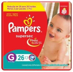 Fralda Descartável Pampers Supersec Pacote G 26 Unidades por R$13,10