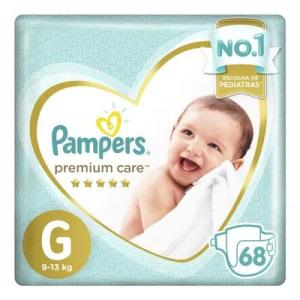 Kit de Fraldas Pampers G Premium Care Jumbo - 136 Unidades -R$128