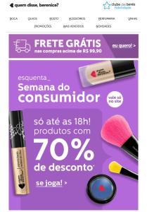Prorrogado!!! semana do consumidor - Produtos com até 70% de desconto