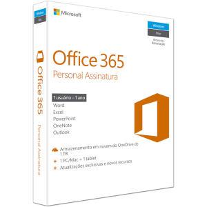 Office 365 Personal Assinatura Anual Microsoft - 1 licença