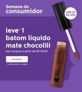 Batom Chocolili + Frete grátis em compras a partir de R$59,90 |QDB