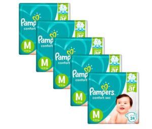 Fralda Pampers Confort Sec Tamanho M - Kit com 120 Unidades | R$74,50