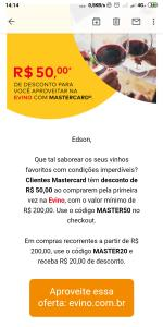 R$50,00 de desconto na Evino clientes mastercard