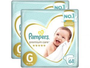 Fralda Pampers Premium Care G 2 Pacotes - com 68 Unidades Cada por R$ 140