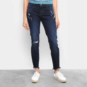 Calça Jeans Skinny Colcci Fátima Puídos Cintura Média Feminina - Jeans (nº 42) - R$ 104