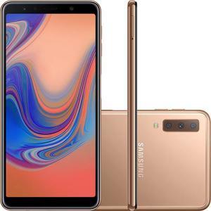 "Smartphone Samsung Galaxy A7 128GB Dual Chip Android 8.0 Tela 6"" Octa-Core 2.2GHz 4G Câmera Triple - Cobre R$1583"