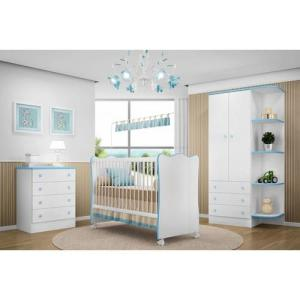 Quarto Infantil Doce Sonho - Berço Simples, Cômoda, Armário- Branco/Azul | R$431