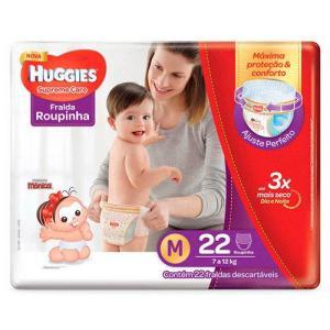 Fralda Huggies Supreme Care Roupinha Jumbo M 22 Unidades - R$10