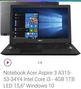 Notebook Acer aspire 3,i3 8• geração,4gb,1TB