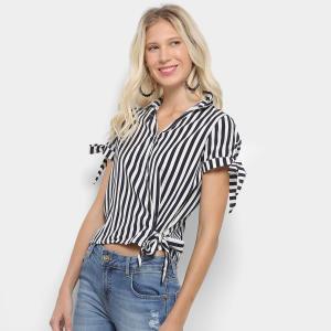 Blusa Listrada Lily Fashion com Laço Feminina - Marinho | R$43