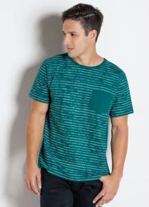 Camiseta Marinho com Estampa e Bolso Frontal - R$25