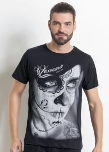 Camiseta Masculina Preta com Estampa Frontal - R$25