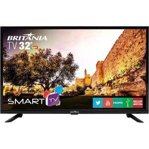 "Smart TV LED 32"" Britânia BTV32G51SN HD com Conversor Digital 2 HDMI 1 USB Wi-Fi Áudio Dolby - Preta R$799 (R$720 com AME)"