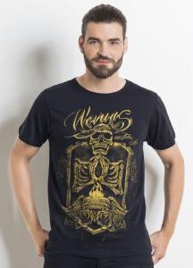 Camiseta Preta Masculina com Estampa Frontal - R$25