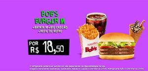 Bobs fã - Batata média,bobs burguer m ,big cascão e refil de refri - R$18,50