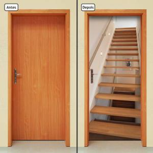 Adesivo Decorativo De Porta - Escada De Madeira