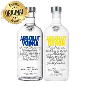 Kit Vodka Absolut Natural 750ml + Citron 750ml | R$90