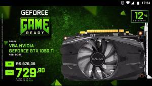 Placa de Vídeo Galax NVIDIA GeForce GTX 1050 Ti 4GB.